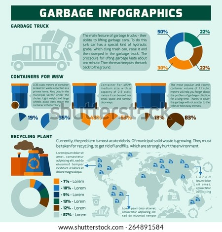 Garbage infographics set with trash recycling symbols and environmental pollution charts vector illustration - stock vector