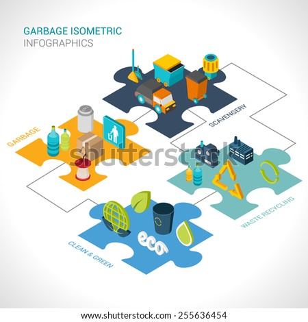 Garbage isometric infographics set with scavengery clean and green waste recycling elements vector illustration - stock vector