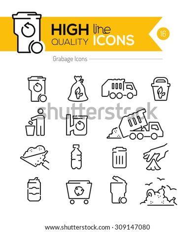 Garbage Line Icons Series - stock vector