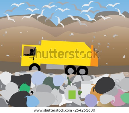 garbage lorry at landfill site   - stock vector