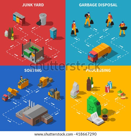 Garbage Recycling and Waste Sorting Isometric Concept Set Isolated Vector Illustration - stock vector
