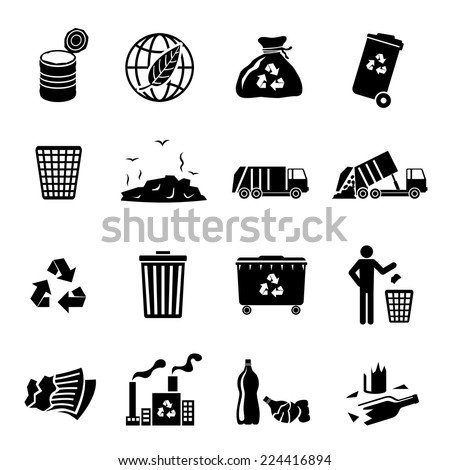 Garbage recycling icons black set of landfill trash truck dump isolated vector illustration - stock vector