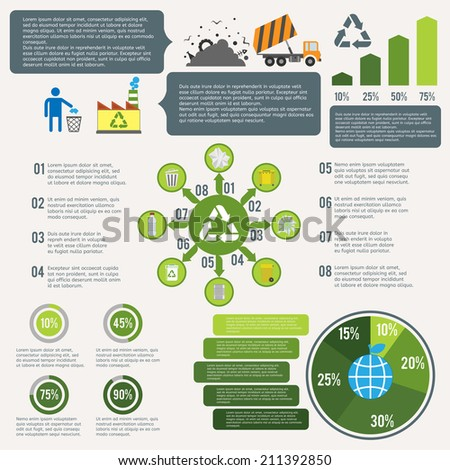 Garbage recycling infographic elements set with cleaning icons and charts vector illustration - stock vector