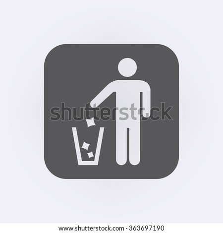 Garbage Recycling Sign . People icon . Vector illustration - stock vector