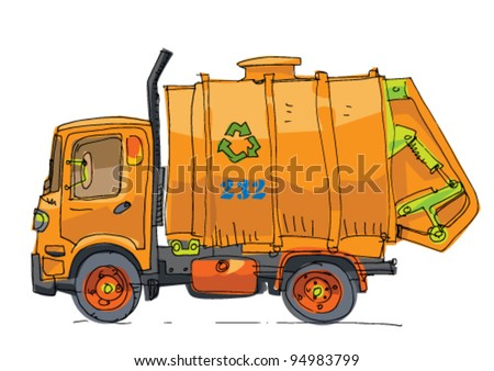 Garbage Trucks Clip Art Garbage truck - stock vector