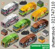 Garbage Truck Collection. palette 3D Flat Vector Icon Set. Isometric Colorful Vehicle Fleet of Sanitation Department or Recycling Industry JPG JPEG Image Drawing Object Picture Graphic Art EPS 10 AI - stock vector