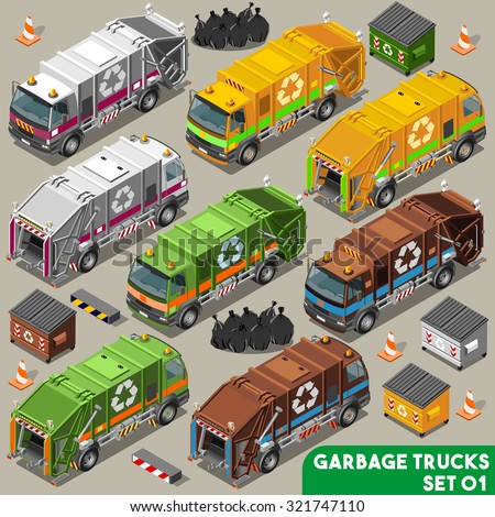 Garbage Truck Collection. palette 3D Flat Vector Icon Set. Isometric Colorful Vehicle Fleet of Sanitation Department or Recycling Industry  - stock vector