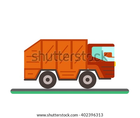 Garbage truck illustration. Waste disposal flat concept with garbage container truck. City waste disposal management. Waste sorting Garbage truck