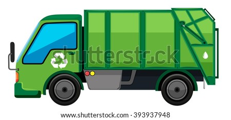 Garbage truck in green color illustration