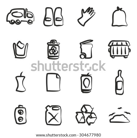 Garbageman Icons Freehand - stock vector