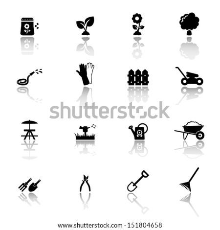 Garden and gardening icon set - stock vector