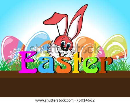 garden background with colorful decorated egg, cute rabbit face