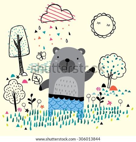 garden bear illustration - stock vector