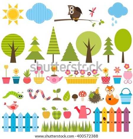 Garden elements set - stock vector