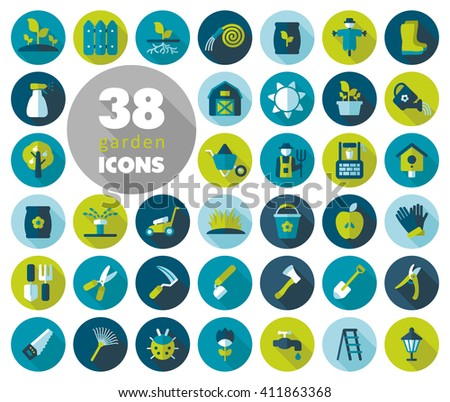 Garden Farm flat vector icon outline isolated, garden, eps 10 - stock vector
