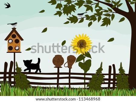 Garden fence - stock vector