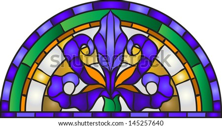Garden flowers and bouton of Iris, floral vector composition / stained glass window - stock vector