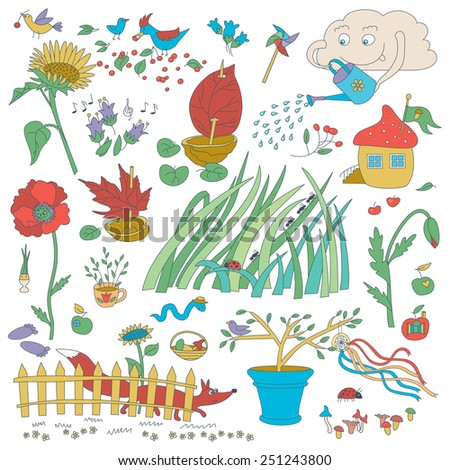 Garden Flowers And Decorations. Plants And Birds. - stock vector