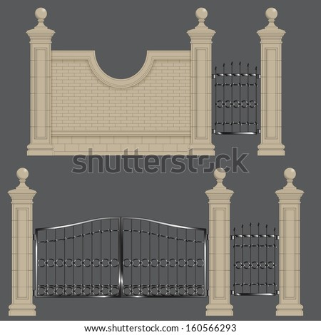 Garden Gateway Stone Pillars With Forged Gate And Brick Wall