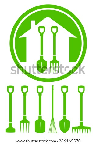 garden green icon with tools set silhouette - stock vector