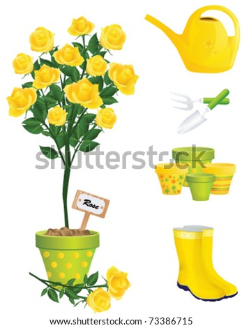 Garden Items and yellow rose, vector - stock vector