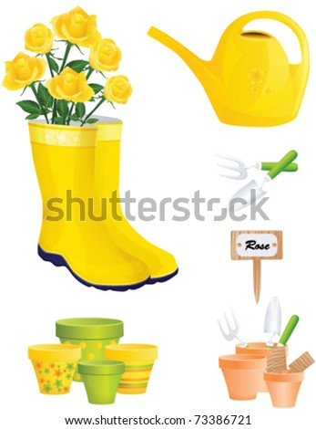 Garden Items and yellow roses, vector - stock vector