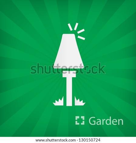 garden Lamp icon (Garden) - stock vector