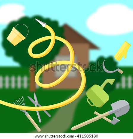 Garden landscape with blurred background. Gardening tools set. Gardening poster - stock vector