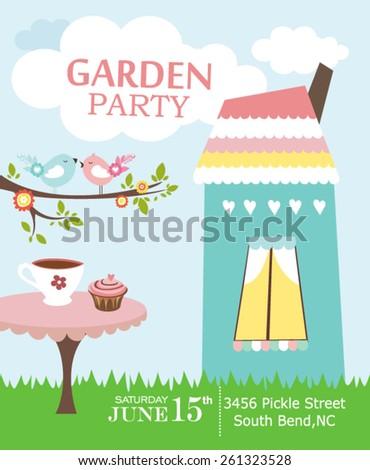 Garden party invitation - stock vector