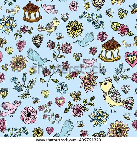 Garden Pattern with birds