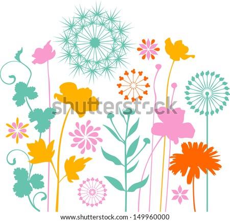 Garden plants and flowers - stock vector