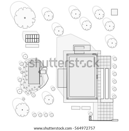 Garden blueprint stock images royalty free images vectors garden project at family home in plan project of garden includes swimming pond fruit malvernweather Choice Image
