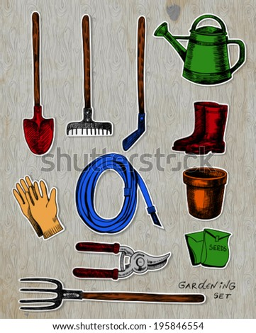 Garden related objects stickers collection on background with old wooden texture. - stock vector