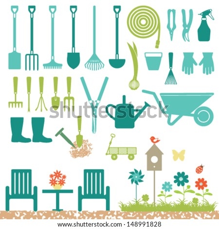 Garden related silhouette icons - stock vector
