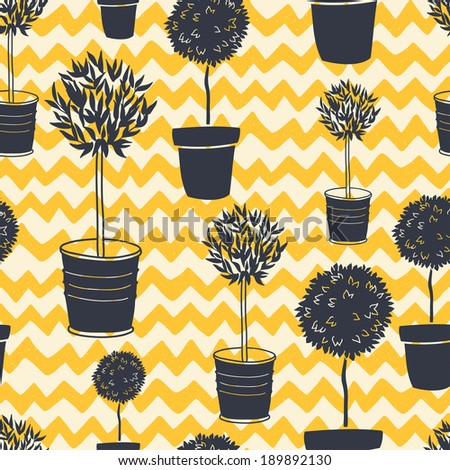 Garden seamless pattern with doodle potted tree silhouettes on hand drawn chevron backdrop. Geometrical tiling backgrounds. - stock vector