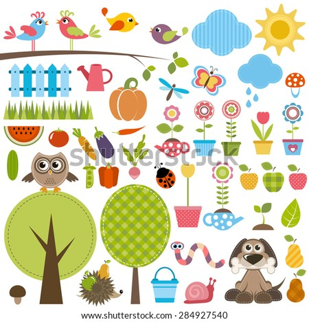 Garden set with birds, trees, flowers, vegetables and insects. - stock vector