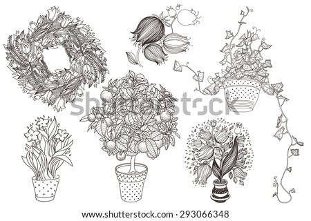 Garden set with 6 plants in flowerpot: bluebell, citrus tangerine, campanula, tulip, narcissus and ivy. Design template in vintage style like engrave. Vintage style. 6 in 1 - stock vector