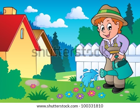 Garden theme image 1 - vector illustration.