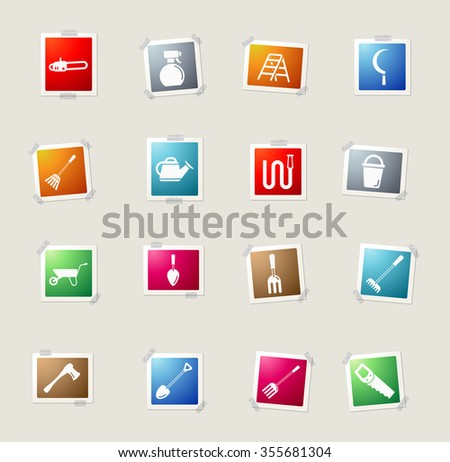 Garden tools card icons for web - stock vector
