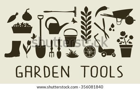 garden tools collection of silhouette graphic garden tools