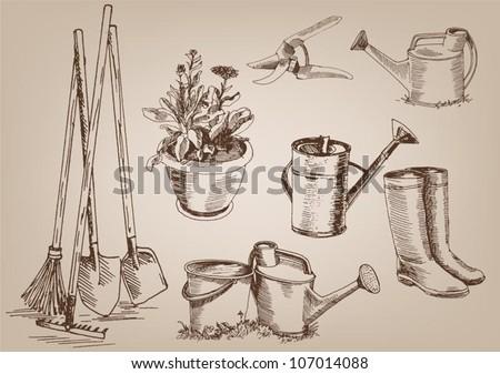 garden tools. collection of vector designs - stock vector
