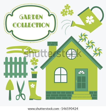 garden tools collection. vector illustration