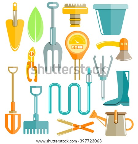 garden tools, colorful flat design