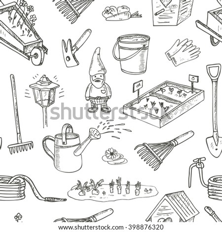 Garden Tools Doodle Set Various Equipment Stock Vector 393579598