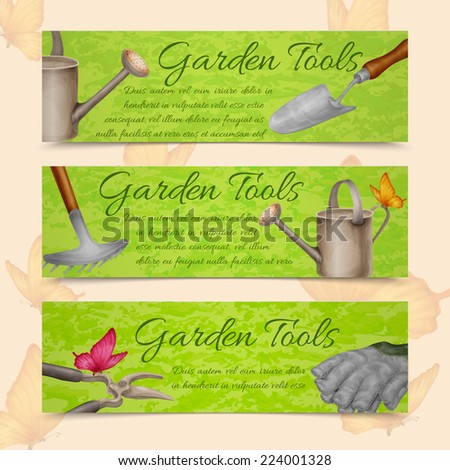 Garden tools farming agriculture equipment horizontal banners set isolated vector illustration - stock vector