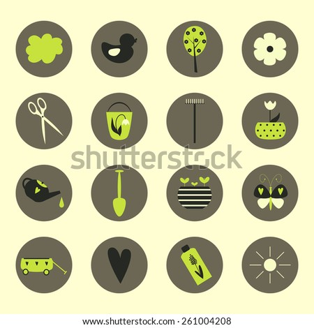 Garden tools icons of flat illustration design