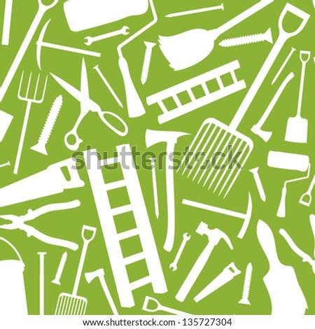 garden tools seamless pattern (vector silhouettes of garden tools, garden tools pattern abstract seamless texture, garden tools background) - stock vector