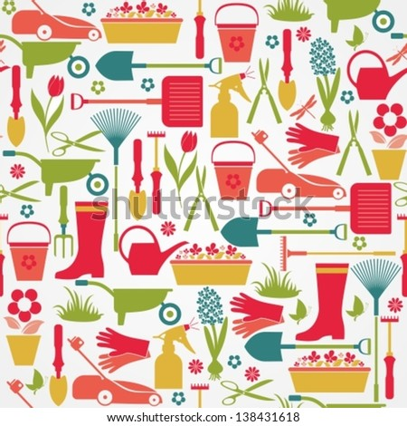 Garden tools set. Seamless pattern. - stock vector