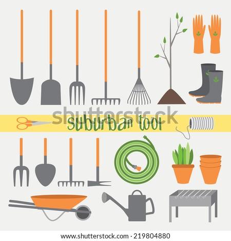 Garden tools vector. Tools for working in the garden - stock vector
