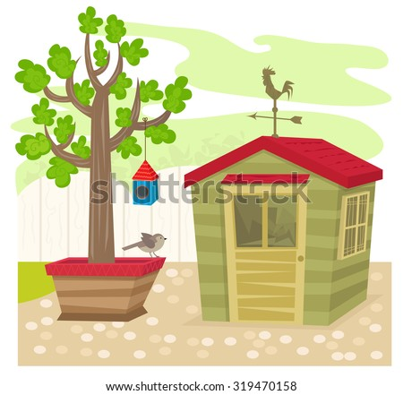 Garden With Shed - Garden shed with a weather vane on top, next to a tree with birdhouse and a bird. Eps10 - stock vector
